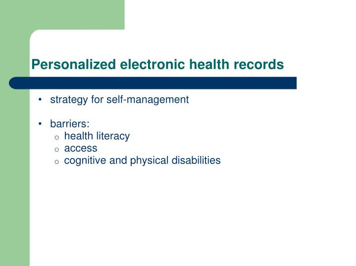 Personalized electronic health records