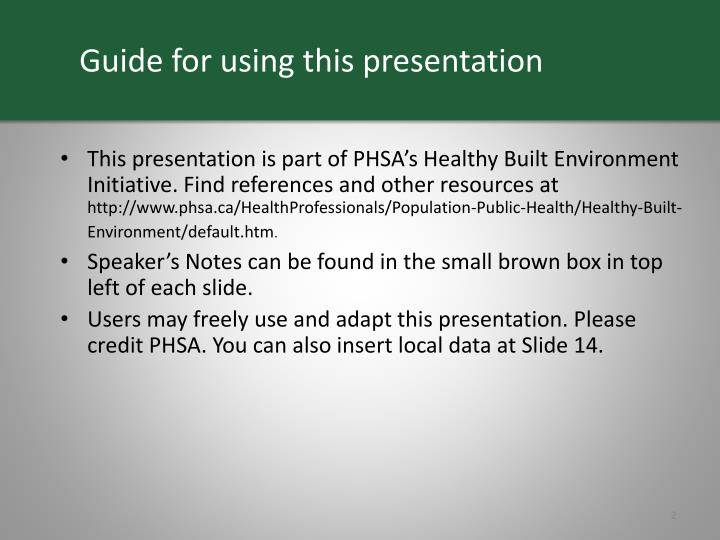 Guide for using this presentation