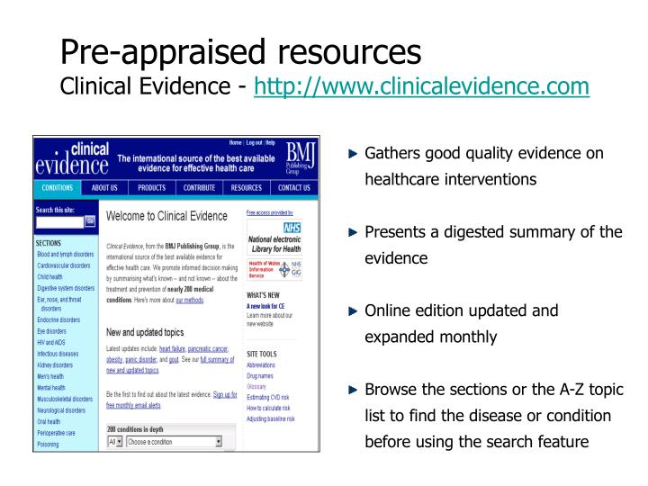 Pre-appraised resources