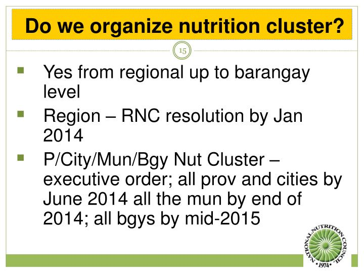 Do we organize nutrition cluster?