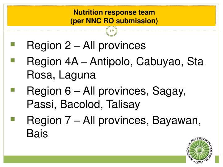 Nutrition response team