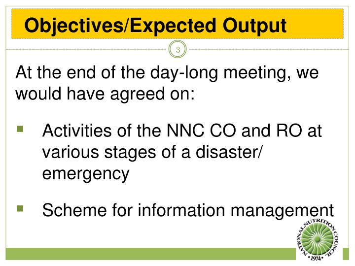 Objectives/Expected Output