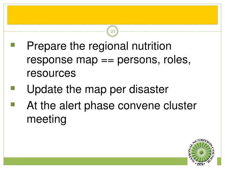 Prepare the regional nutrition response map == persons, roles, resources