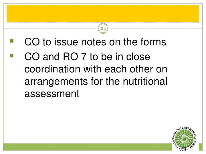 CO to issue notes on the forms