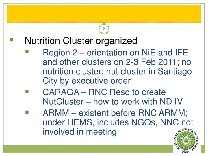 Nutrition Cluster organized