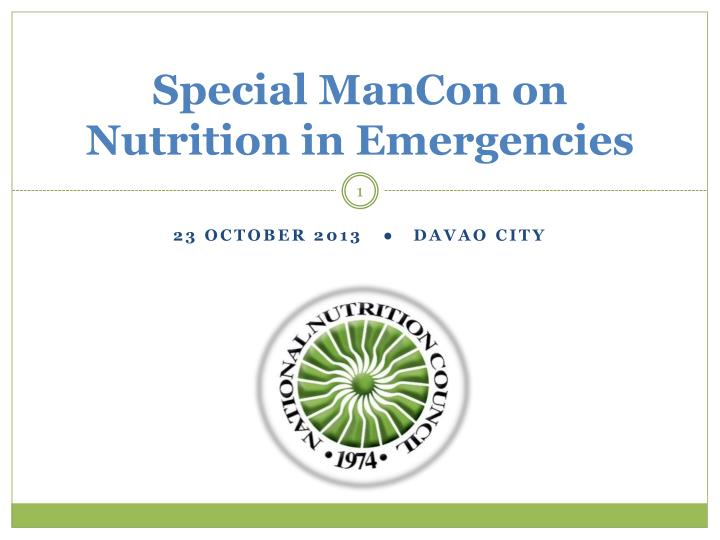 Special mancon on nutrition in emergencies