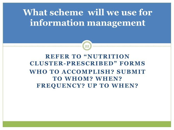 What scheme  will we use for information management