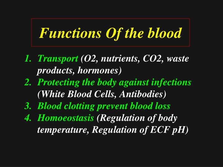 Functions Of the blood