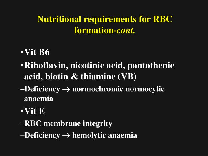 Nutritional requirements for RBC formation-