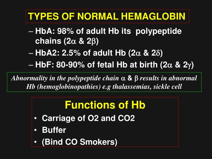 TYPES OF NORMAL HEMAGLOBIN