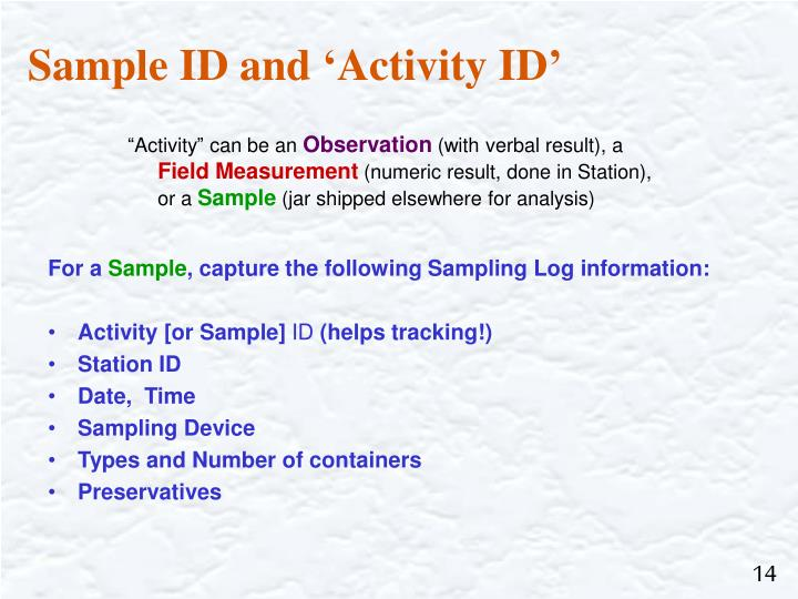 Sample ID and 'Activity ID'