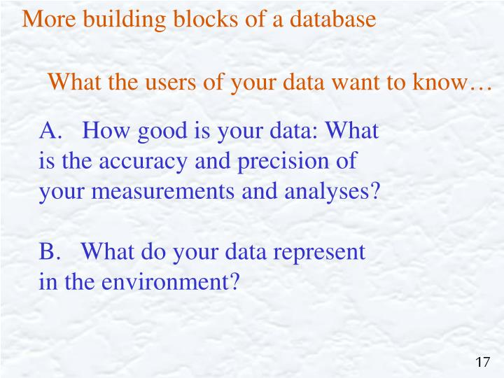 More building blocks of a database