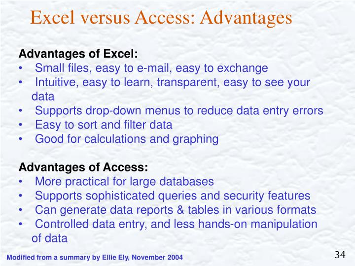 Excel versus Access: Advantages