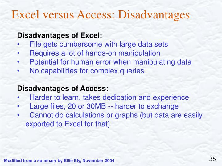 Excel versus Access: Disadvantages