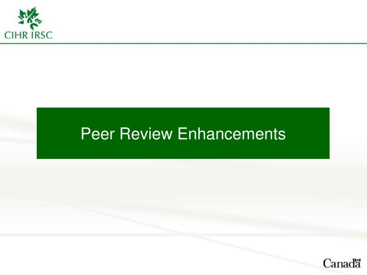 Peer Review Enhancements