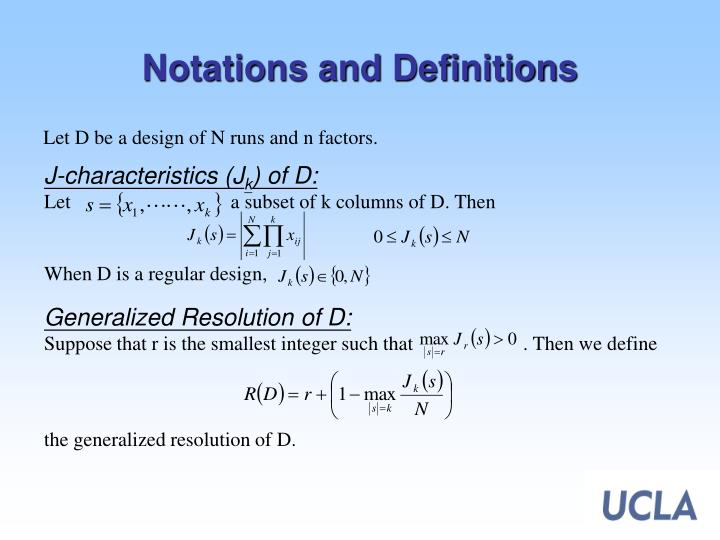Notations and definitions