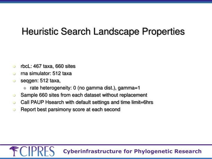 Heuristic Search Landscape Properties