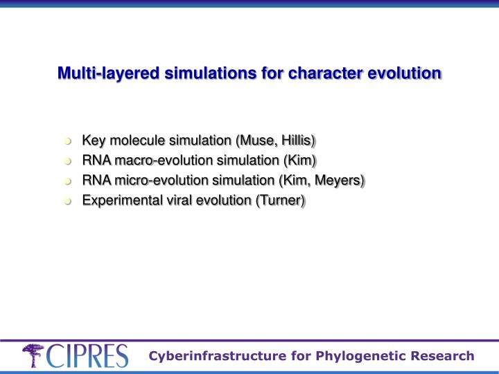 Multi-layered simulations for character evolution