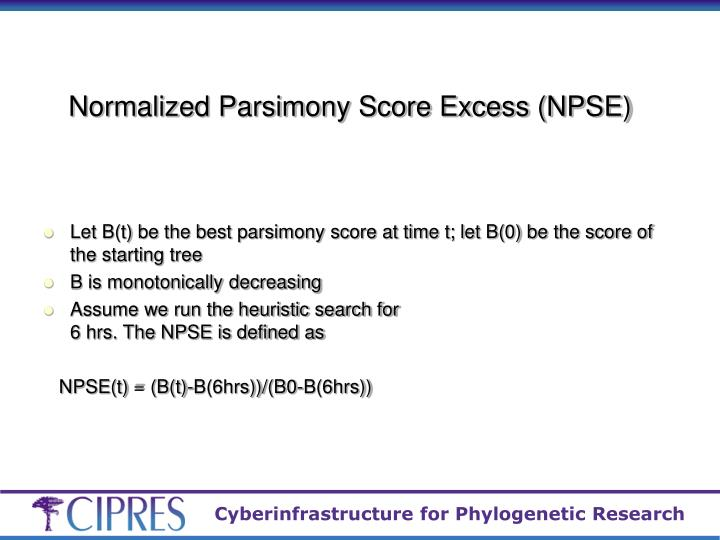 Normalized Parsimony Score Excess (NPSE)