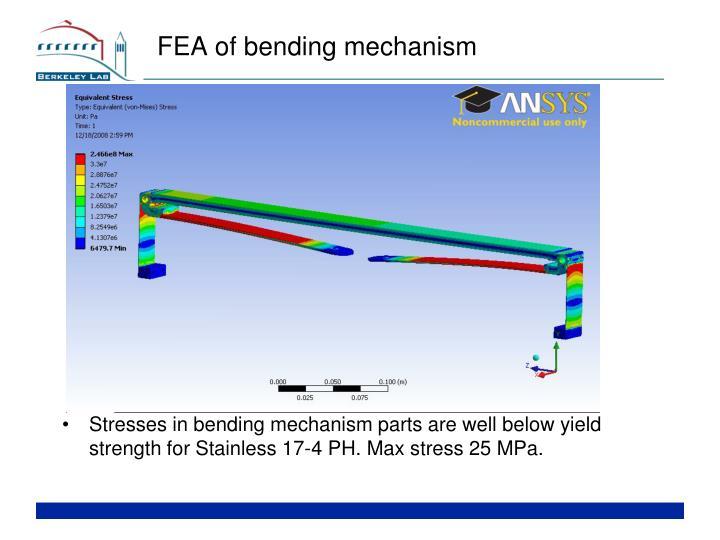 FEA of bending mechanism