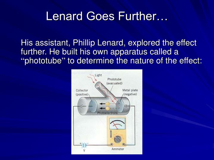 Lenard Goes Further…