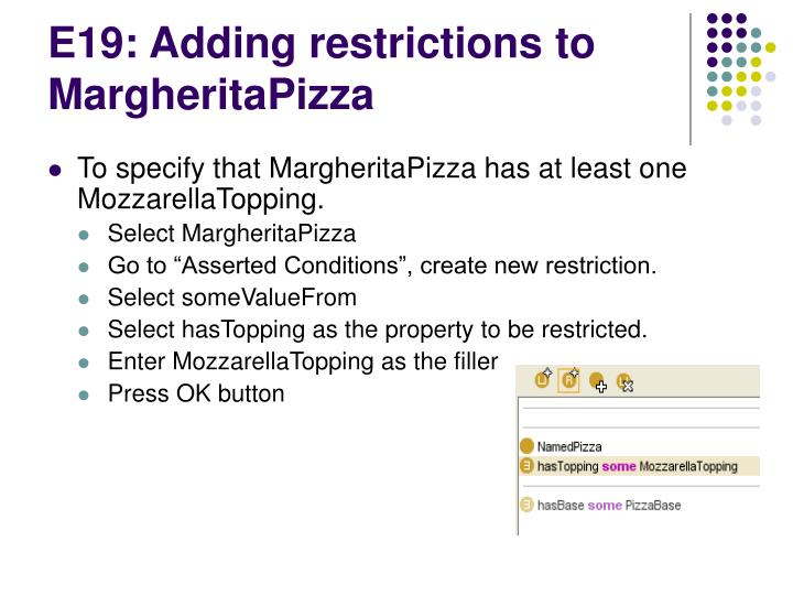 E19: Adding restrictions to MargheritaPizza