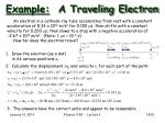 example a traveling electron