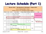 lecture schedule part 1