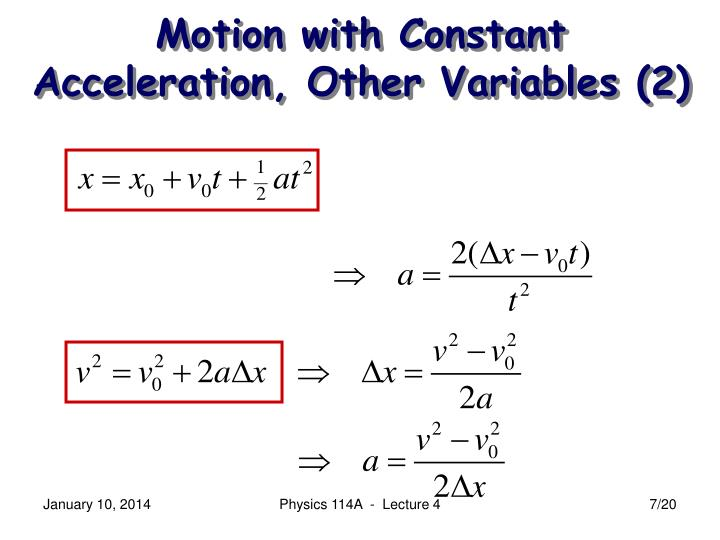 Motion with Constant Acceleration, Other Variables (2)