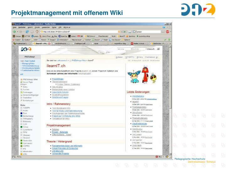 Projektmanagement mit offenem Wiki