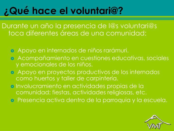 ¿Qué hace el voluntari@?