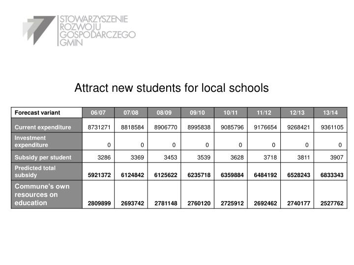 Attract new students for local schools