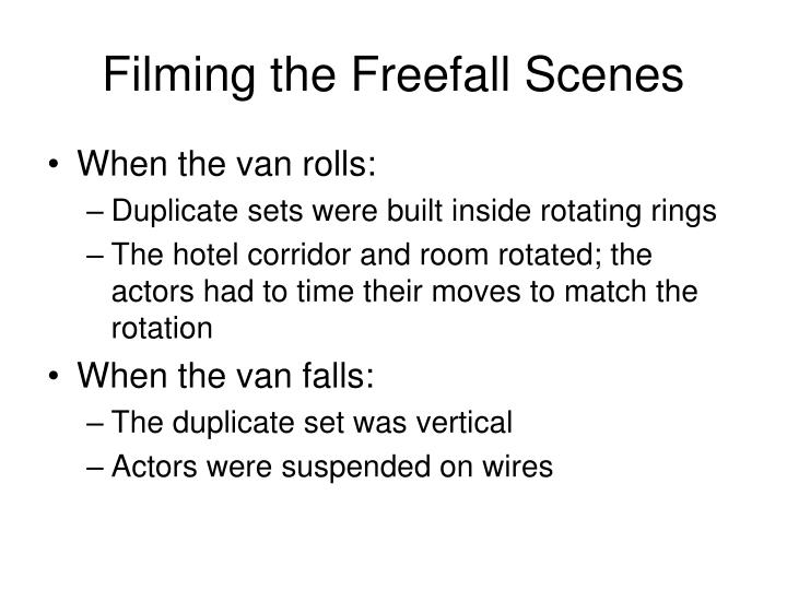 Filming the Freefall Scenes