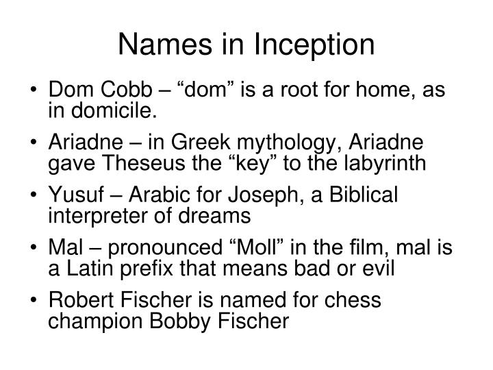 Names in Inception