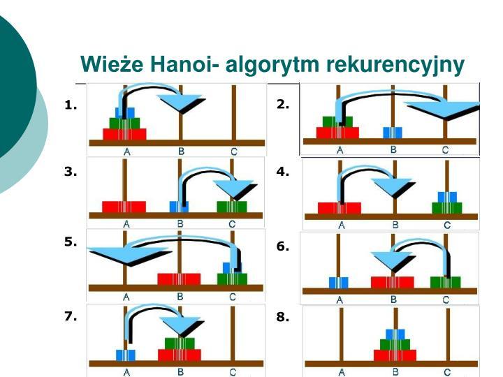Wieże Hanoi- algorytm rekurencyjny