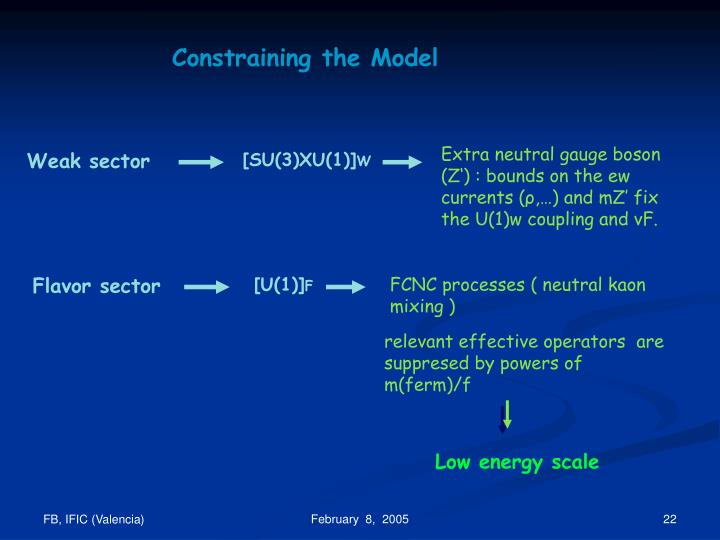 Constraining the Model