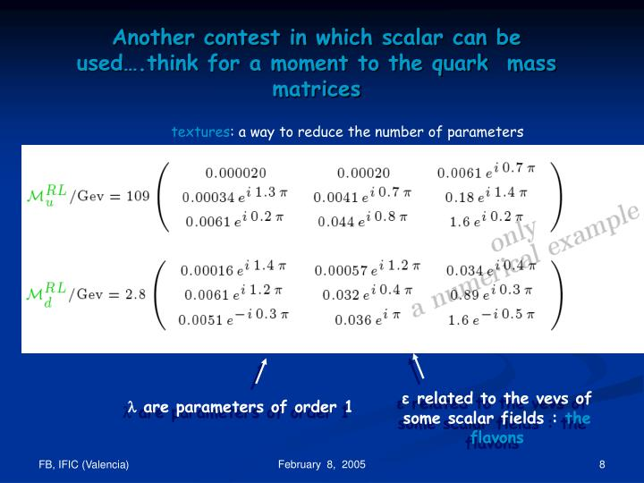 Another contest in which scalar can be used….think for a moment to the quark  mass matrices