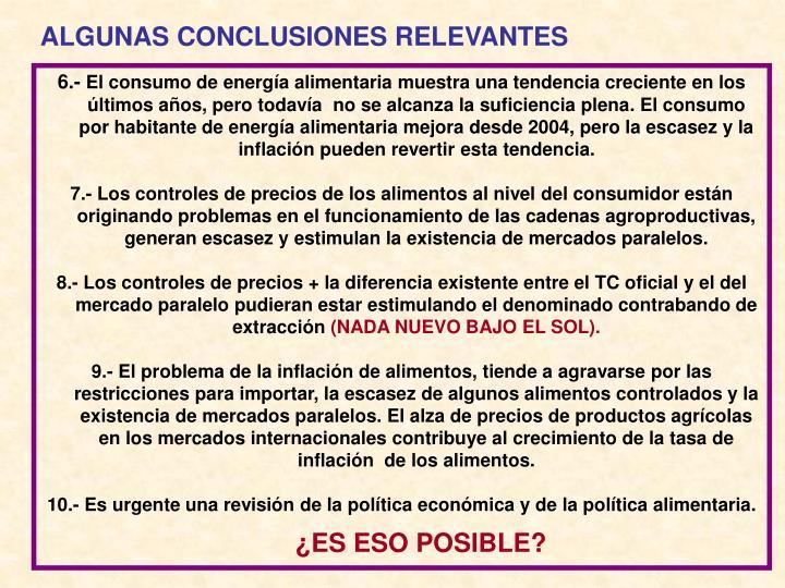 ALGUNAS CONCLUSIONES RELEVANTES