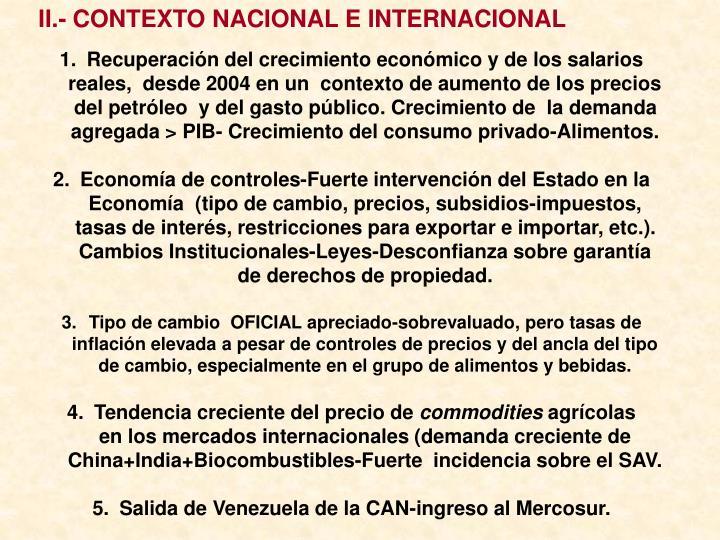 II.- CONTEXTO NACIONAL E INTERNACIONAL