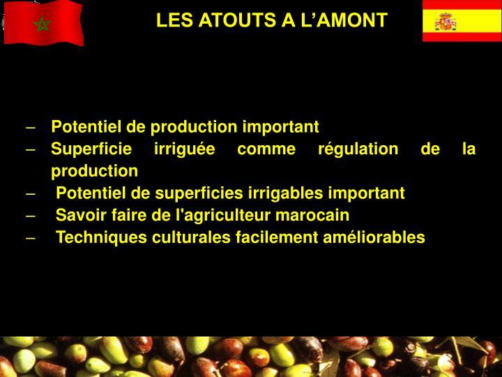 LES ATOUTS A L'AMONT