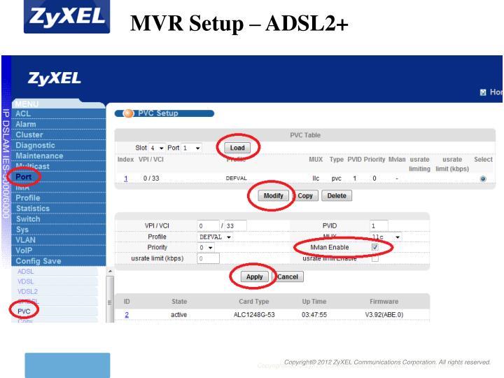 MVR Setup – ADSL2+