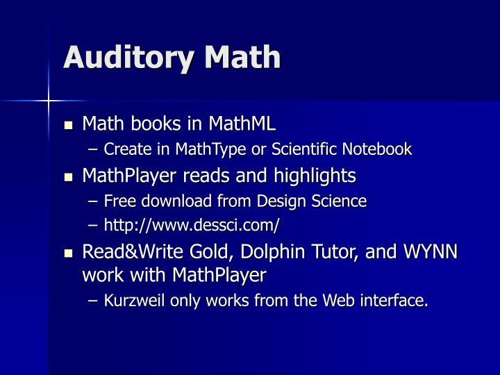 Auditory Math