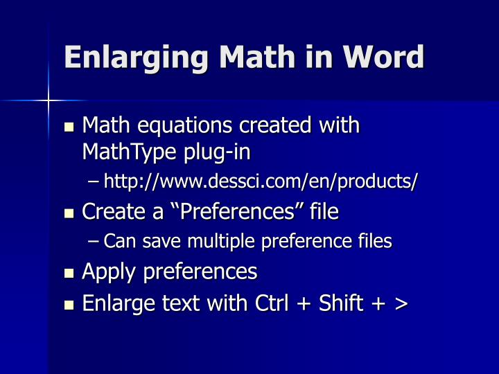 Enlarging Math in Word