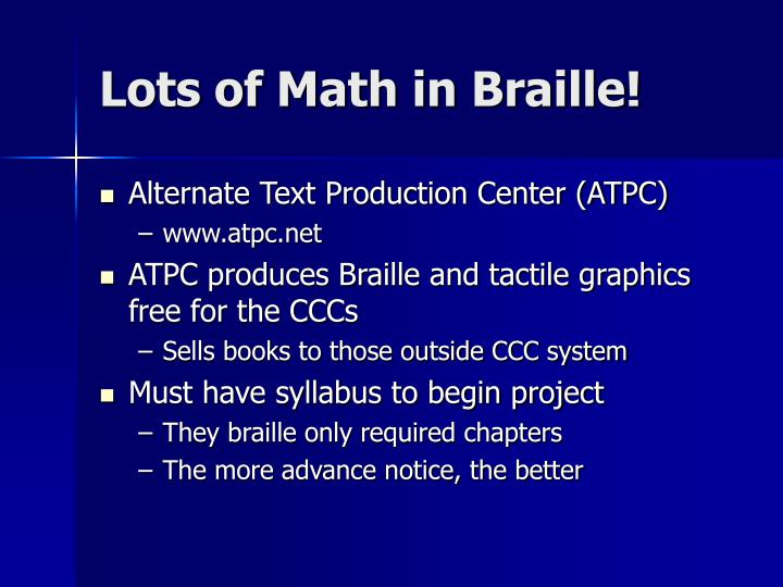Lots of Math in Braille!