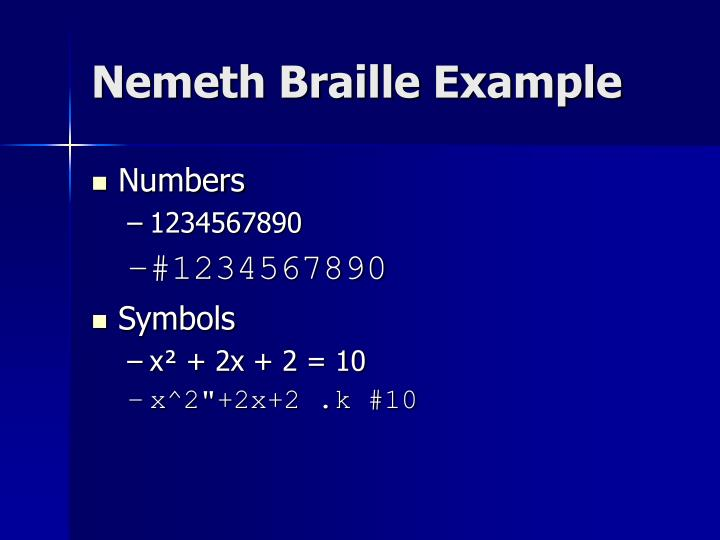 Nemeth Braille Example