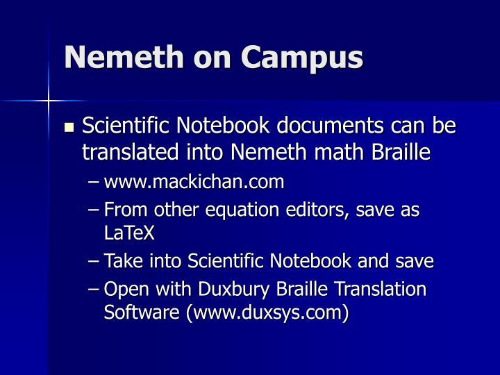 Nemeth on Campus