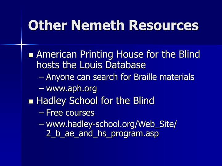 Other Nemeth Resources