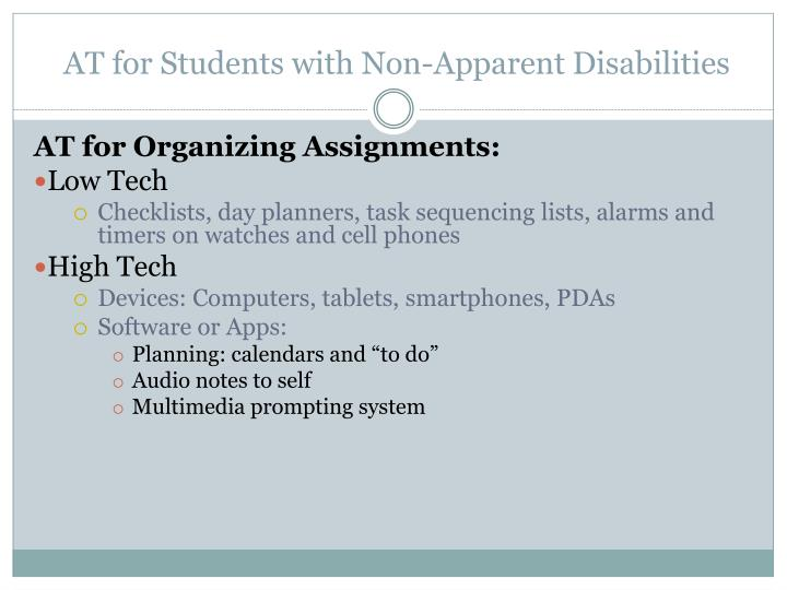 AT for Students with Non-Apparent Disabilities