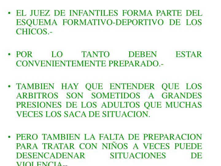 EL JUEZ DE INFANTILES FORMA PARTE DEL ESQUEMA FORMATIVO-DEPORTIVO DE LOS CHICOS.-