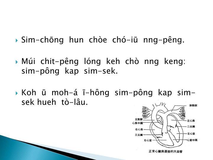 Sim-chōng  hun  chòe  chó-iū  nng-pêng.